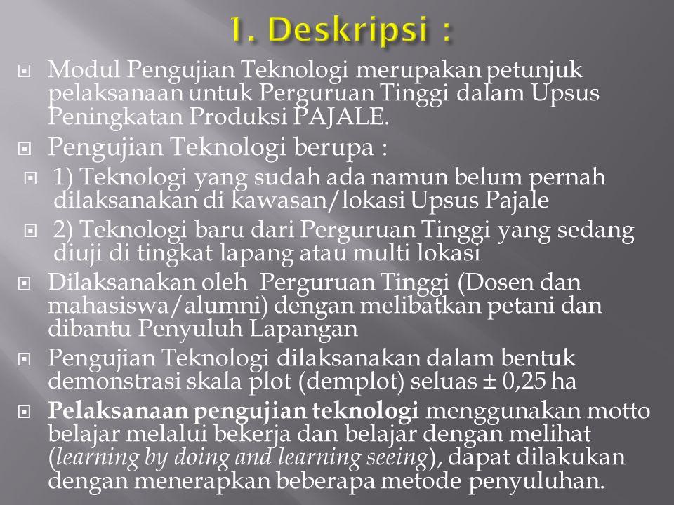 1. Deskripsi : Pengujian Teknologi berupa :