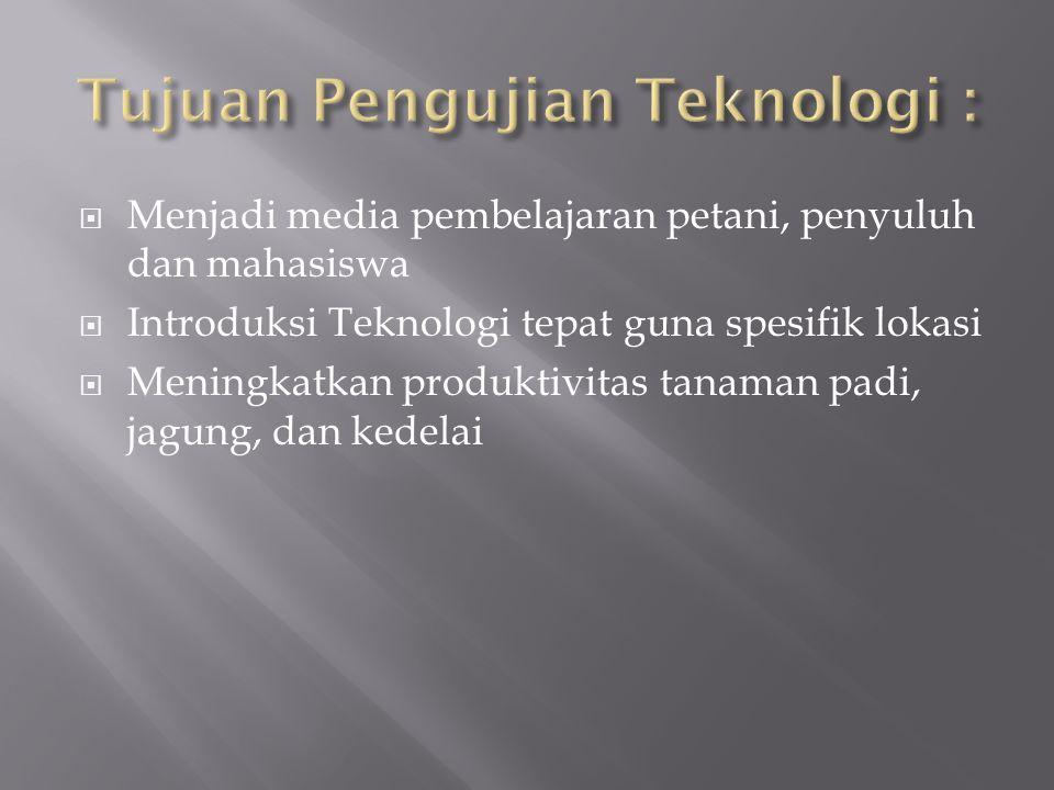 Tujuan Pengujian Teknologi :