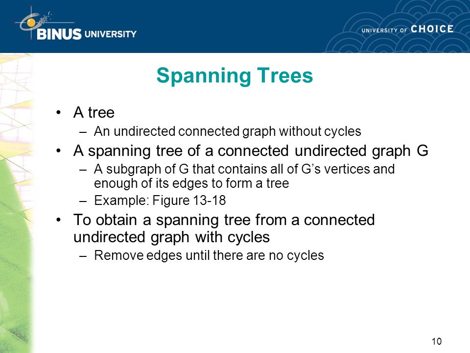 Spanning Trees A tree. An undirected connected graph without cycles. A spanning tree of a connected undirected graph G.