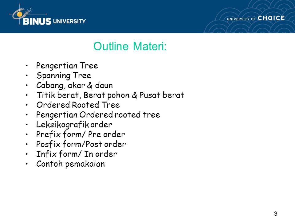 Outline Materi: Pengertian Tree Spanning Tree Cabang, akar & daun
