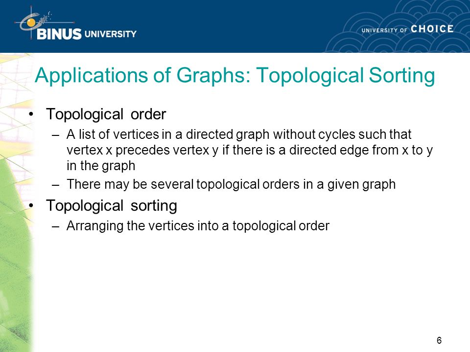 Applications of Graphs: Topological Sorting