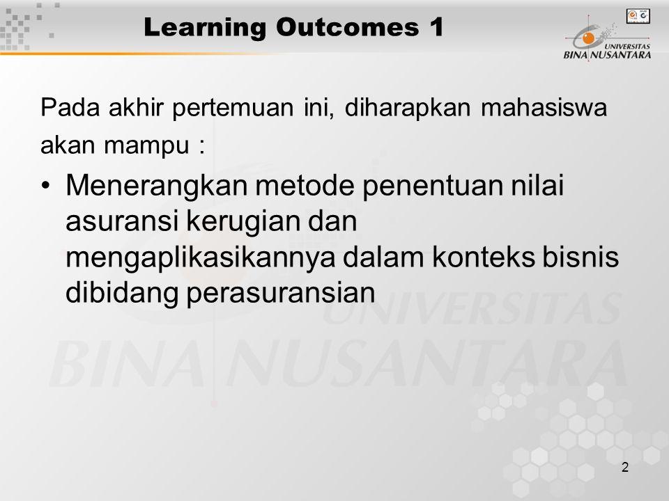 Learning Outcomes 1 Pada akhir pertemuan ini, diharapkan mahasiswa. akan mampu :