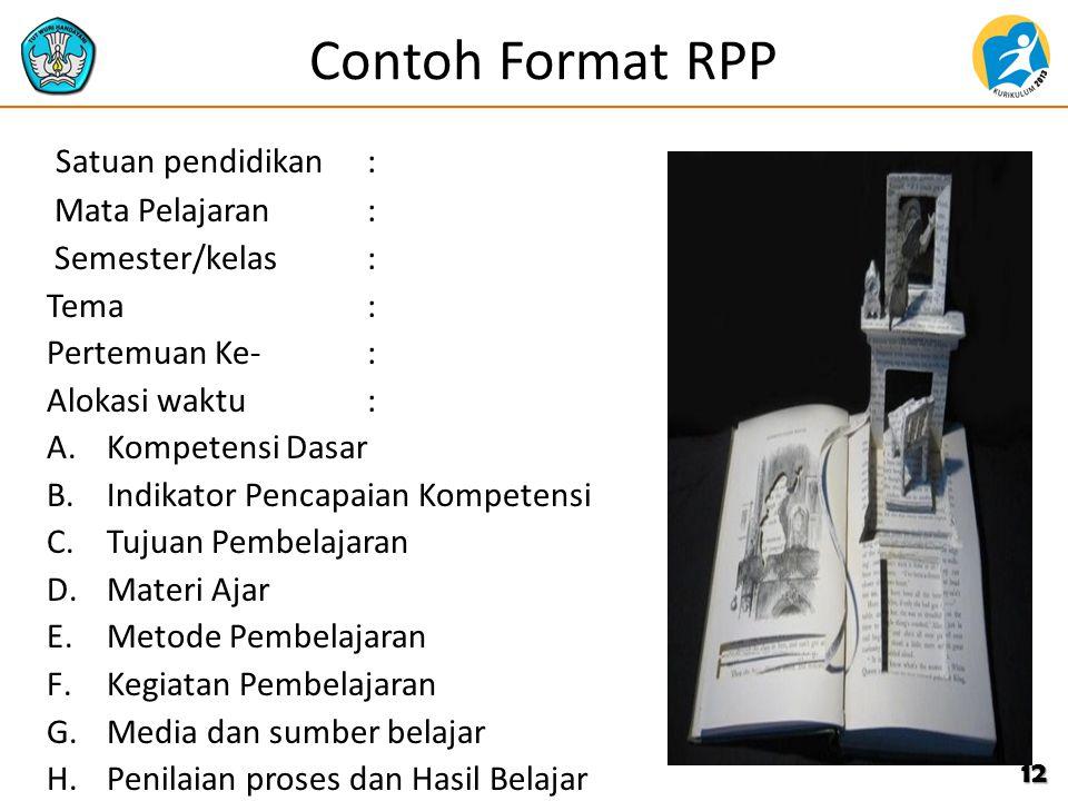 Contoh Format RPP Satuan pendidikan : Mata Pelajaran :