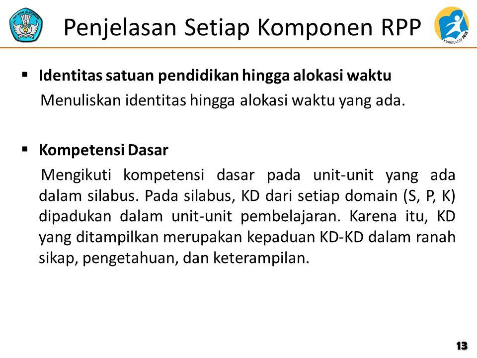 Penjelasan Setiap Komponen RPP