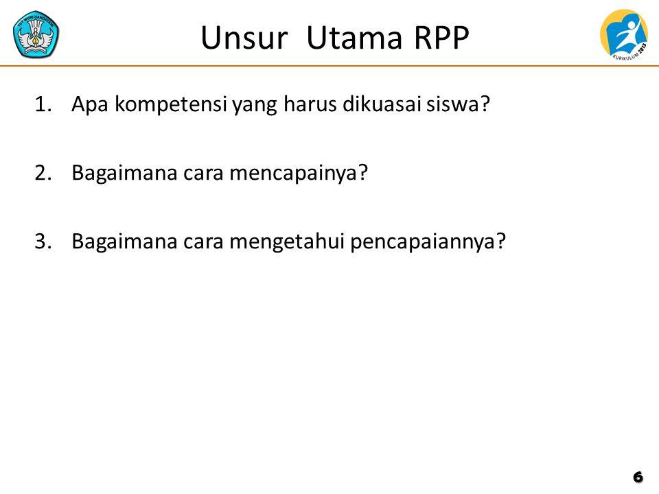 Unsur Utama RPP Apa kompetensi yang harus dikuasai siswa
