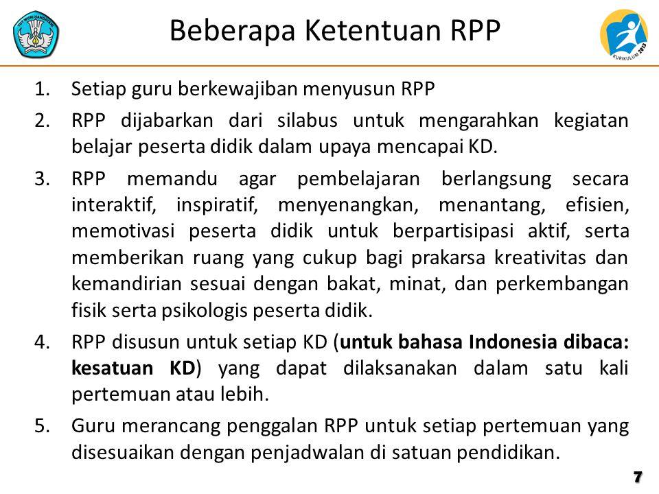 Beberapa Ketentuan RPP
