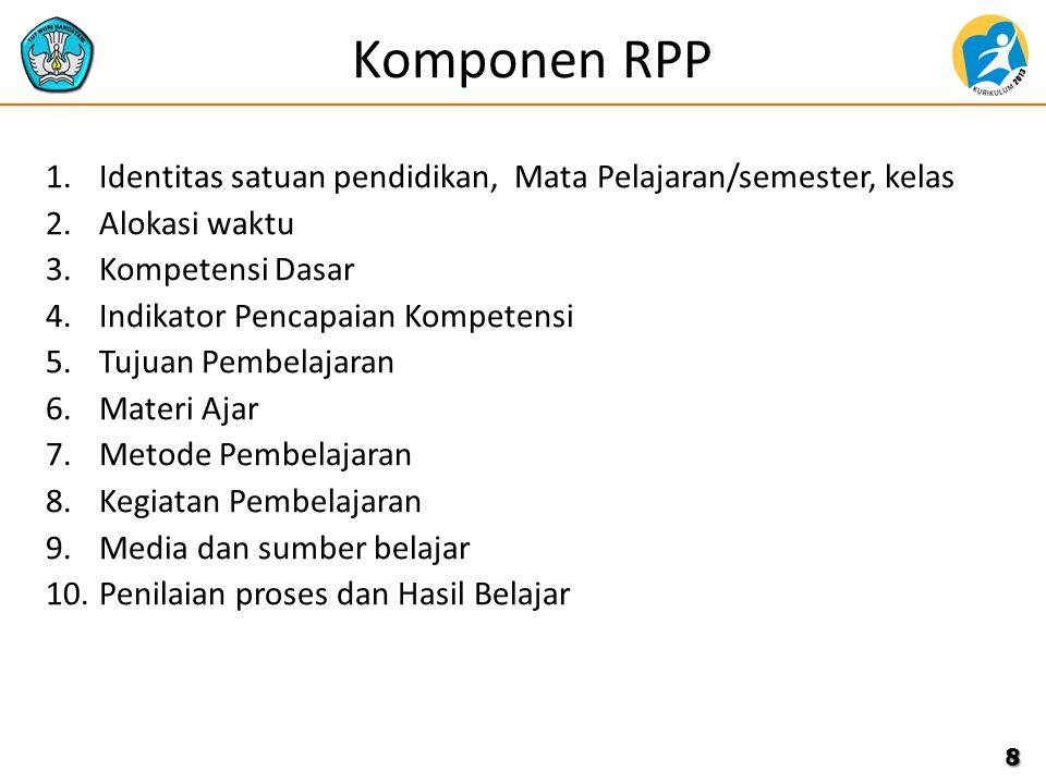 Komponen RPP Identitas satuan pendidikan, Mata Pelajaran/semester, kelas. Alokasi waktu. Kompetensi Dasar.