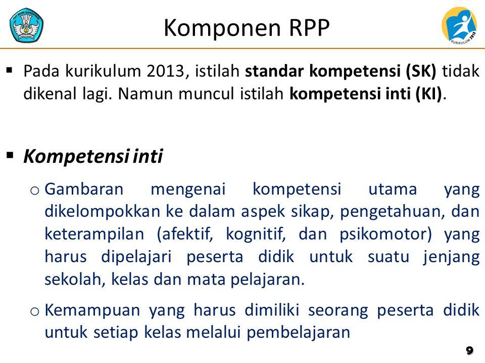 Komponen RPP Kompetensi inti