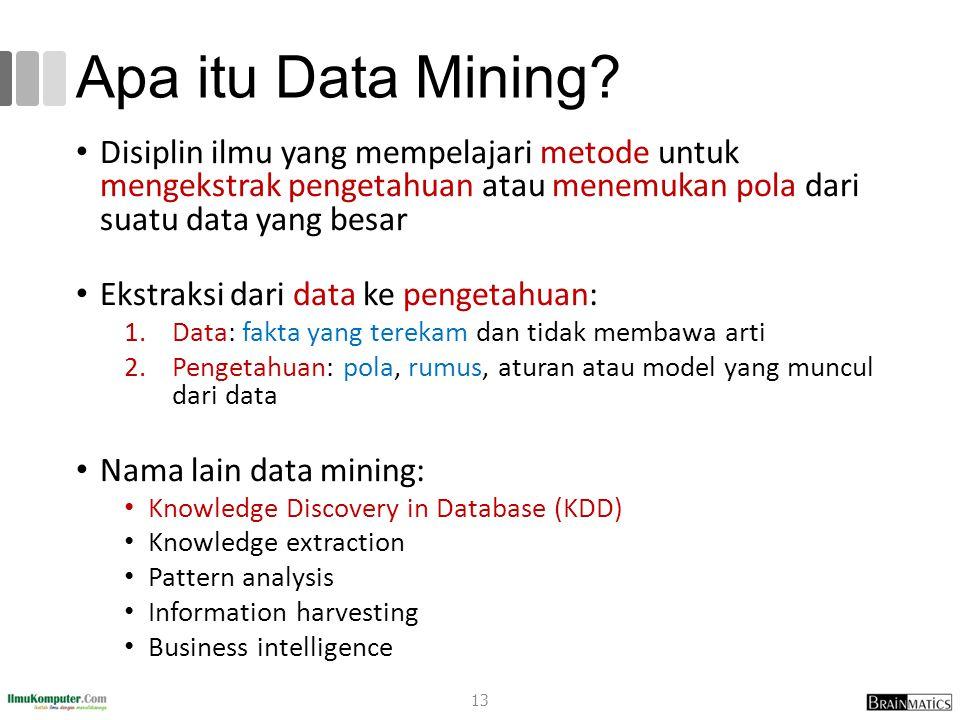 Apa itu Data Mining Disiplin ilmu yang mempelajari metode untuk mengekstrak pengetahuan atau menemukan pola dari suatu data yang besar.