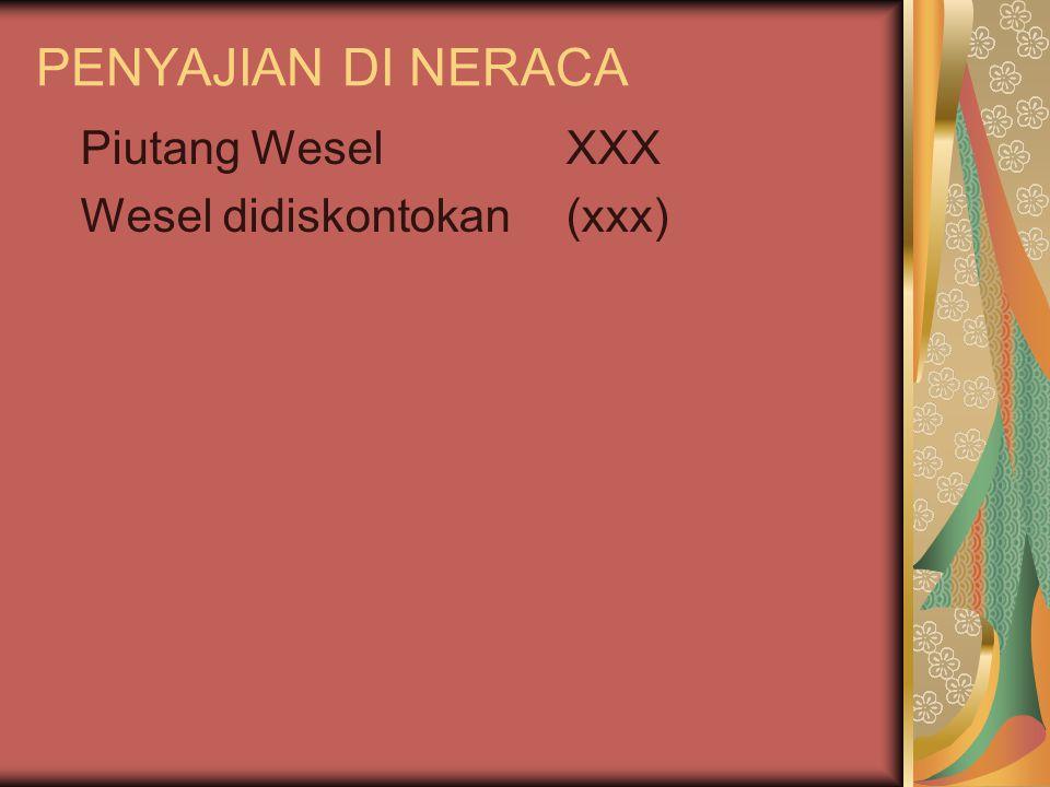 PENYAJIAN DI NERACA Piutang Wesel XXX Wesel didiskontokan (xxx)
