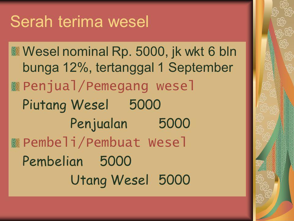 Serah terima wesel Wesel nominal Rp. 5000, jk wkt 6 bln bunga 12%, tertanggal 1 September. Penjual/Pemegang wesel.