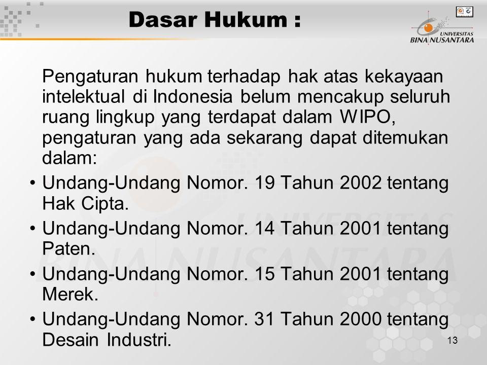 Dasar Hukum : Undang-Undang Nomor. 19 Tahun 2002 tentang Hak Cipta.