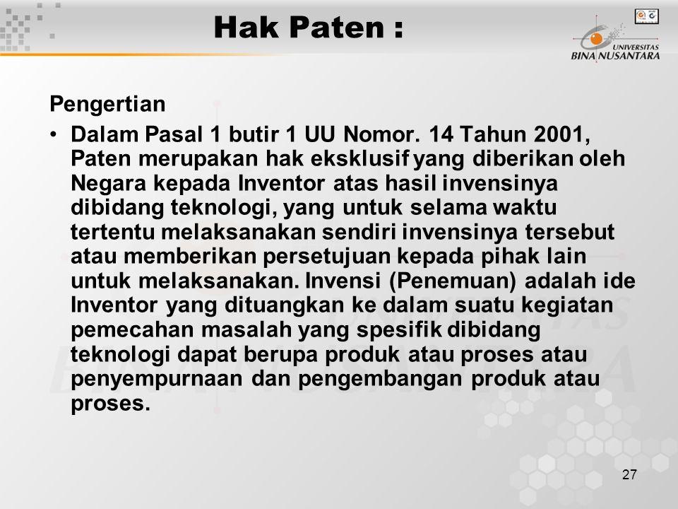 Hak Paten : Pengertian.