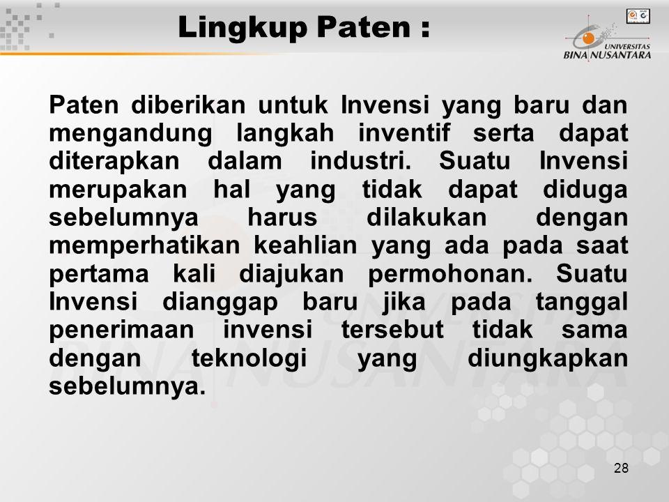 Lingkup Paten :