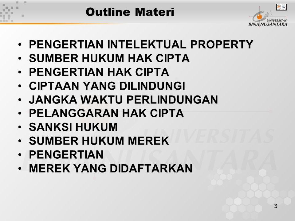 Outline Materi PENGERTIAN INTELEKTUAL PROPERTY. SUMBER HUKUM HAK CIPTA. PENGERTIAN HAK CIPTA. CIPTAAN YANG DILINDUNGI.