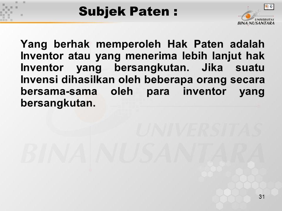 Subjek Paten :
