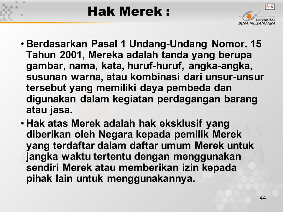 Hak Merek :