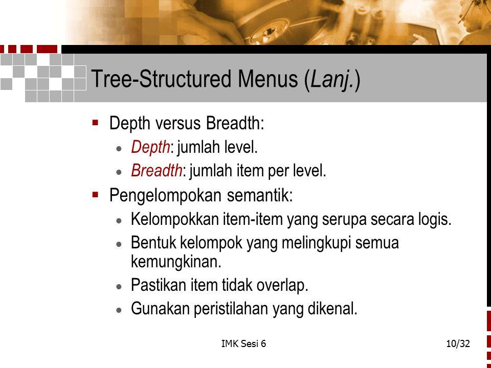 Tree-Structured Menus (Lanj.)
