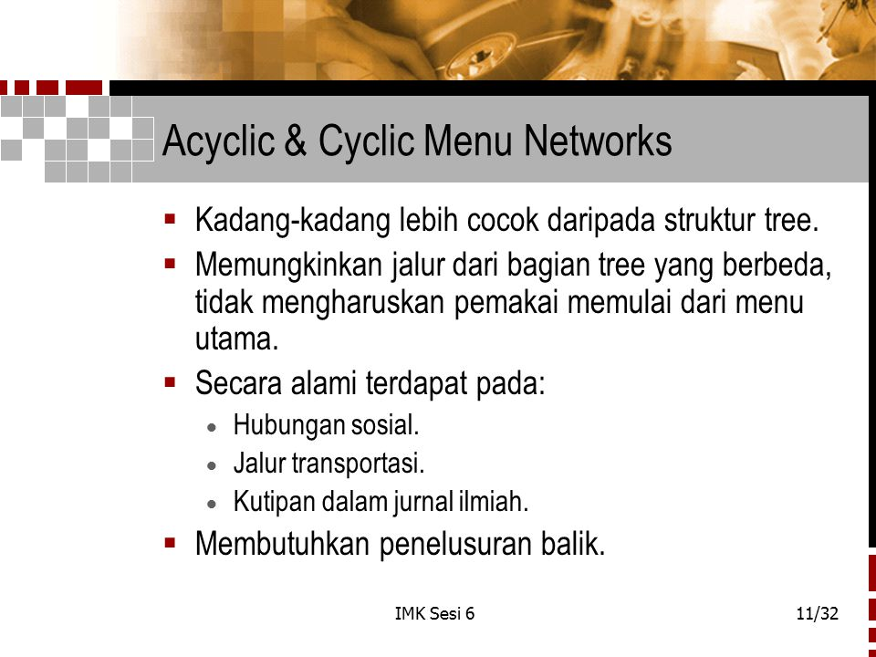 Acyclic & Cyclic Menu Networks