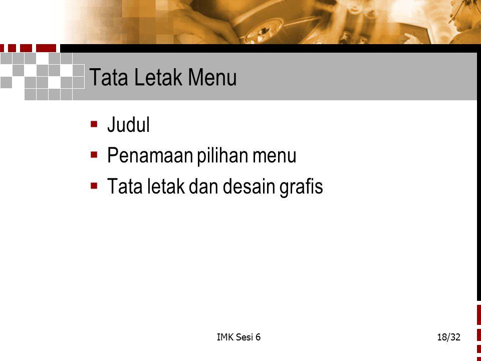Tata Letak Menu Judul Penamaan pilihan menu