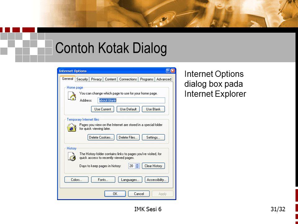 Contoh Kotak Dialog Internet Options dialog box pada Internet Explorer