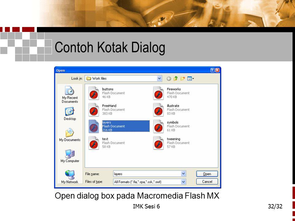 Contoh Kotak Dialog Open dialog box pada Macromedia Flash MX