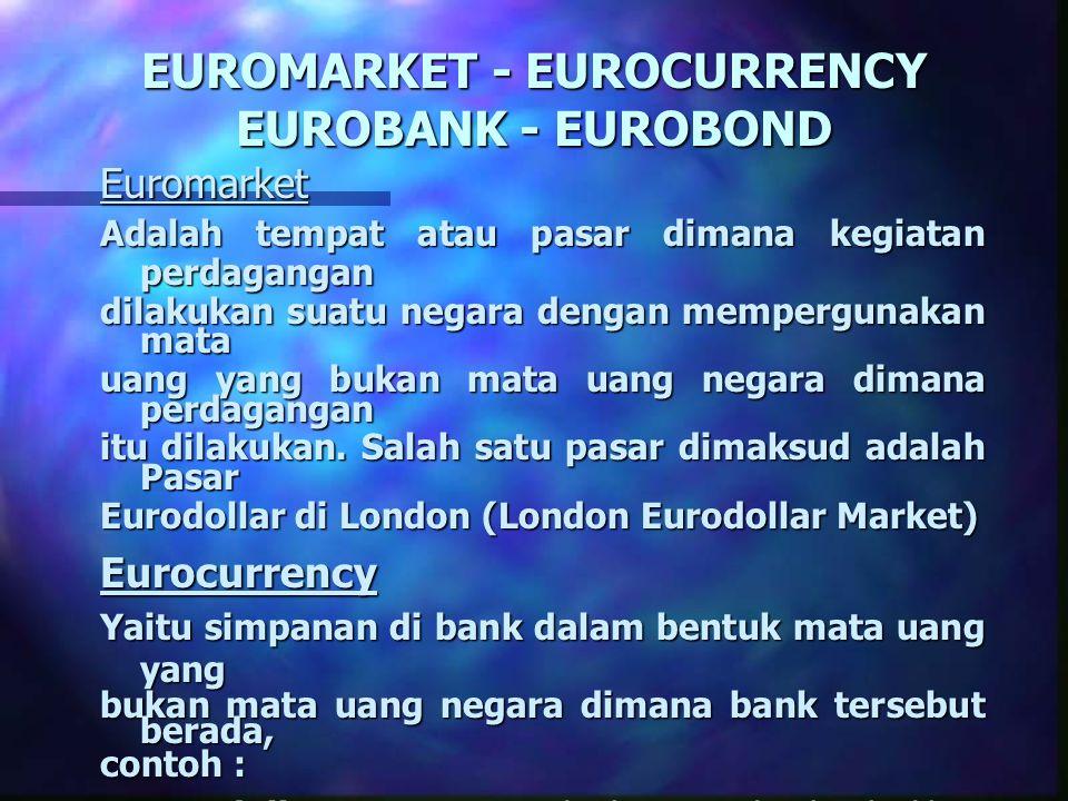 EUROMARKET - EUROCURRENCY EUROBANK - EUROBOND