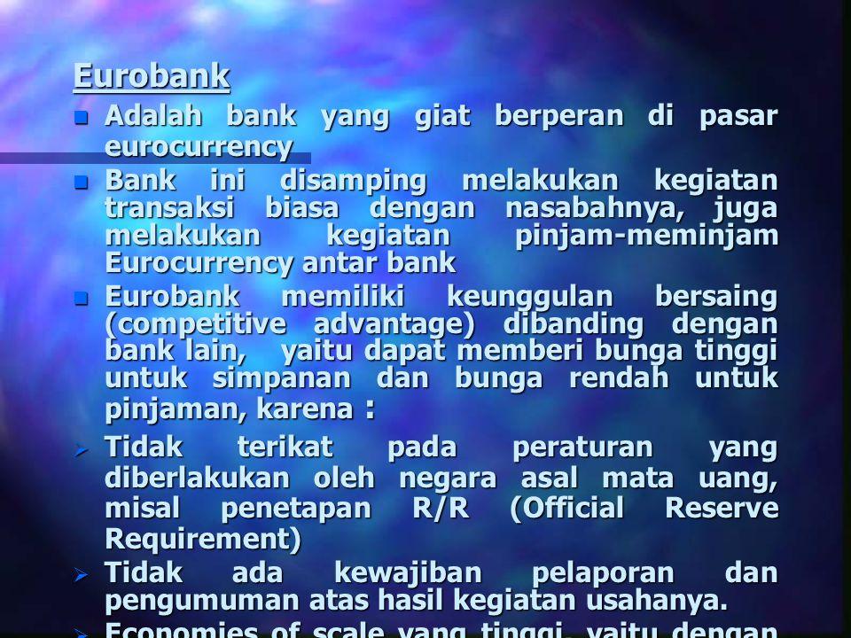 Eurobank Adalah bank yang giat berperan di pasar eurocurrency