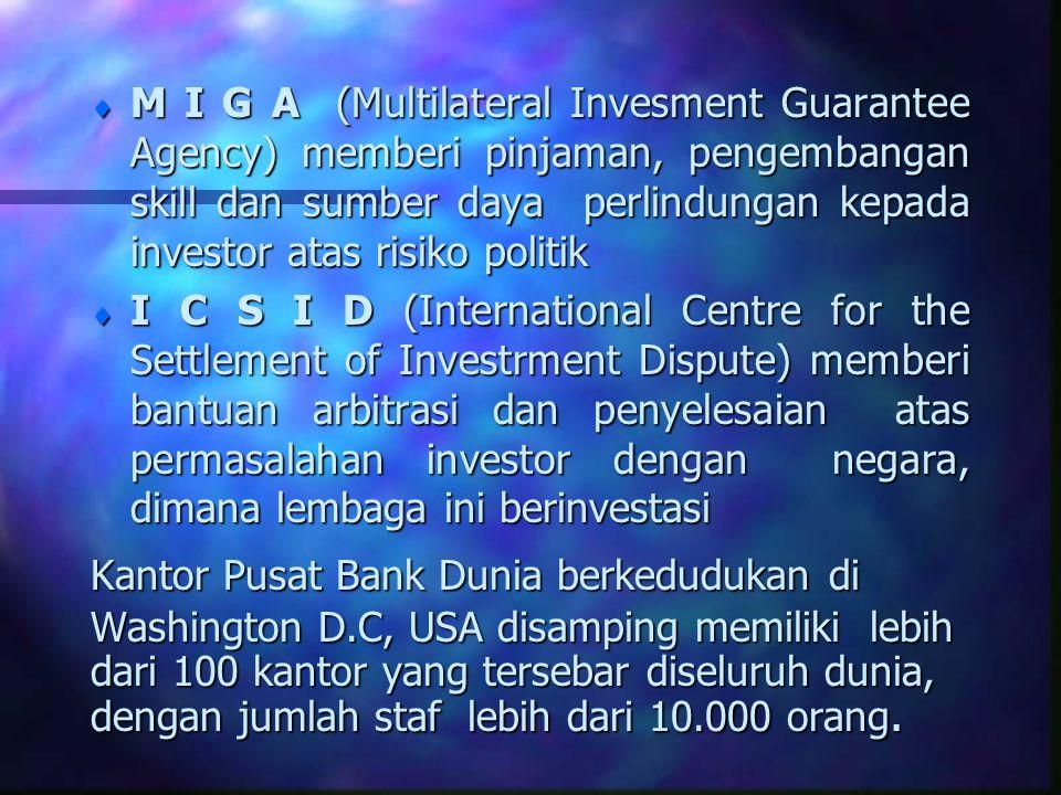 M I G A (Multilateral Invesment Guarantee Agency) memberi pinjaman, pengembangan skill dan sumber daya perlindungan kepada investor atas risiko politik