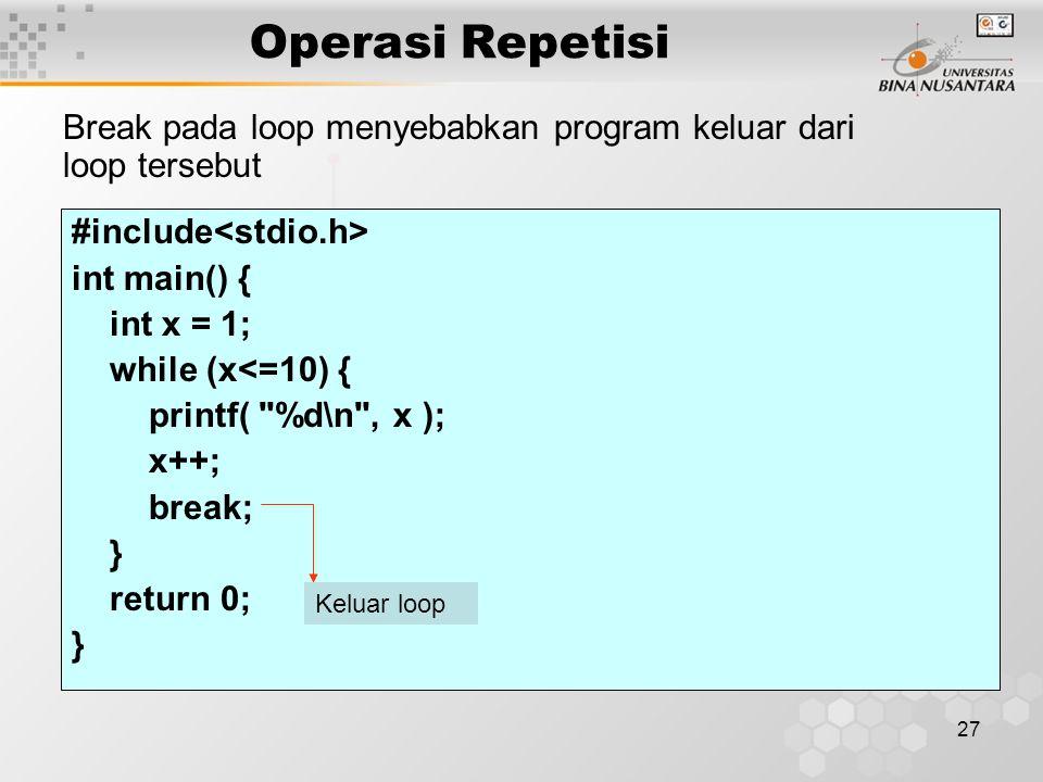 Operasi Repetisi Break pada loop menyebabkan program keluar dari loop tersebut. #include<stdio.h> int main() {
