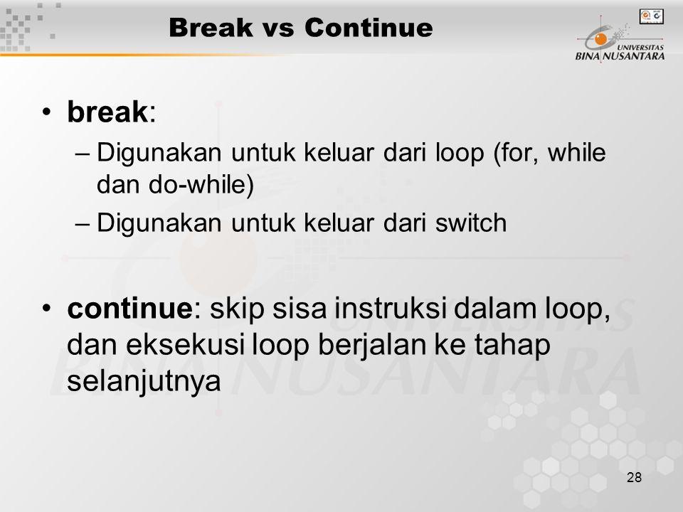 Break vs Continue break: Digunakan untuk keluar dari loop (for, while dan do-while) Digunakan untuk keluar dari switch.