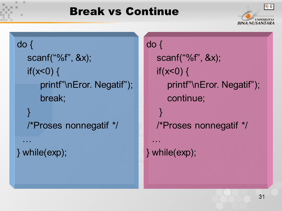 Break vs Continue do { scanf( %f , &x); if(x<0) {
