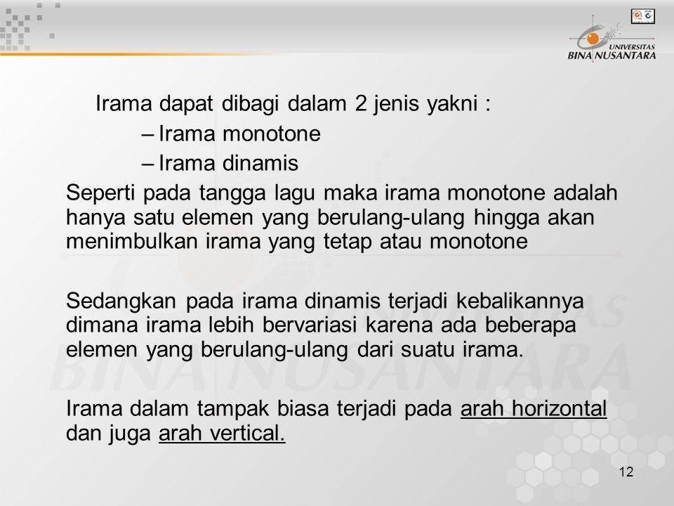Irama dapat dibagi dalam 2 jenis yakni :