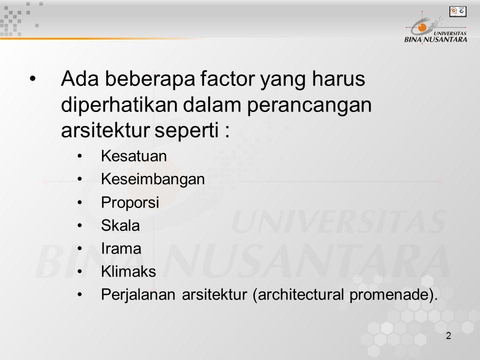 Ada beberapa factor yang harus diperhatikan dalam perancangan arsitektur seperti :