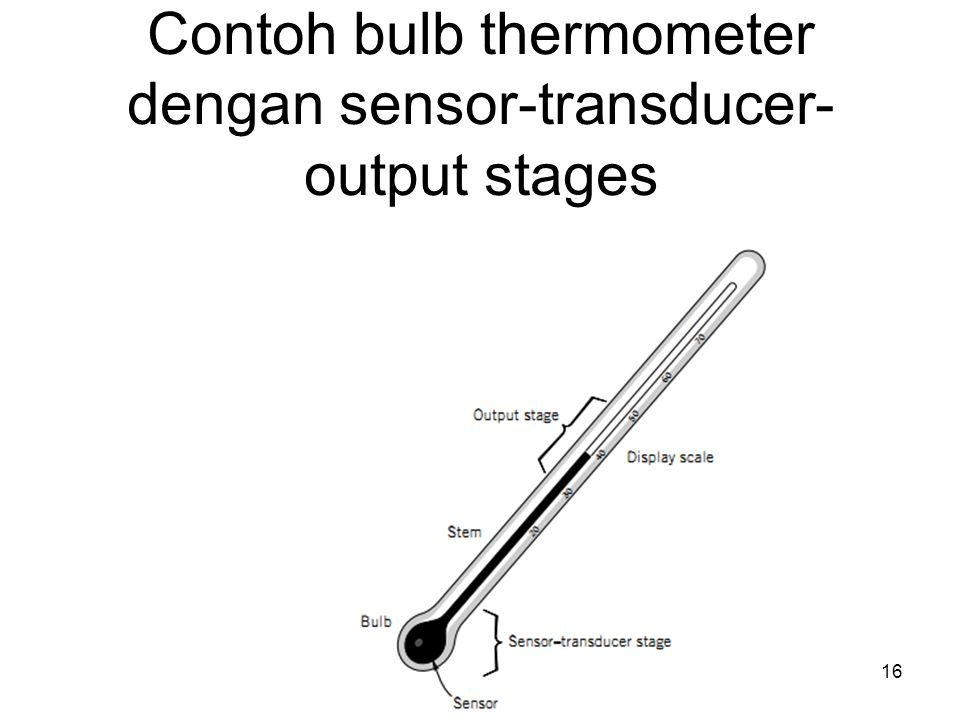Contoh bulb thermometer dengan sensor-transducer-output stages