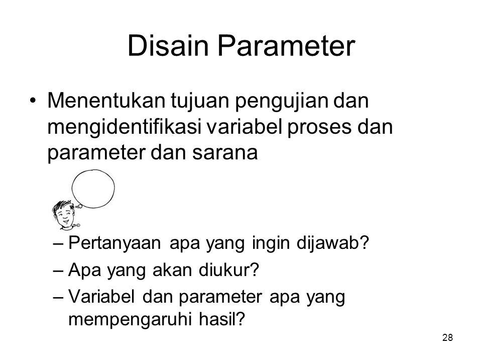 Disain Parameter Menentukan tujuan pengujian dan mengidentifikasi variabel proses dan parameter dan sarana.