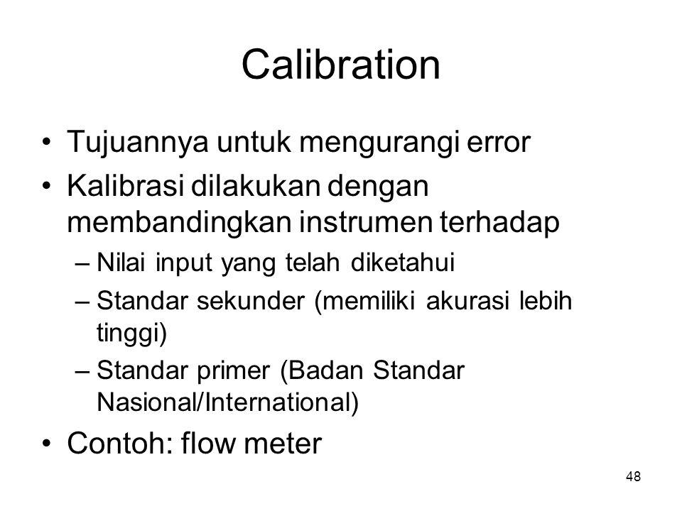 Calibration Tujuannya untuk mengurangi error