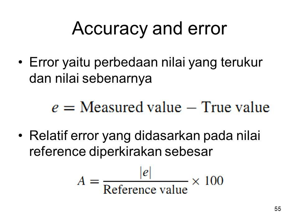 Accuracy and error Error yaitu perbedaan nilai yang terukur dan nilai sebenarnya.