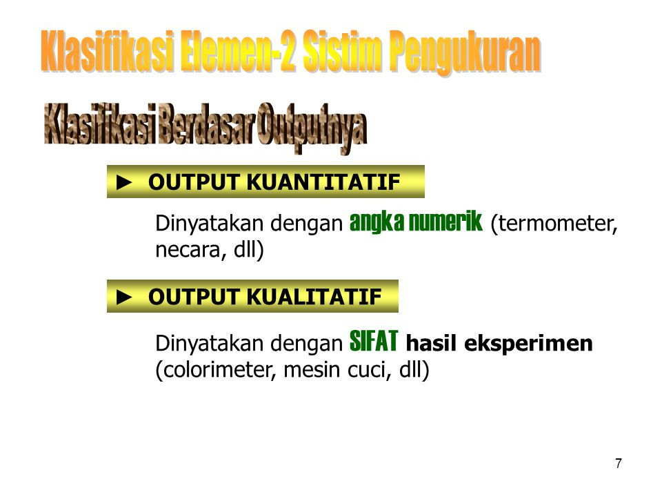 Klasifikasi Elemen-2 Sistim Pengukuran
