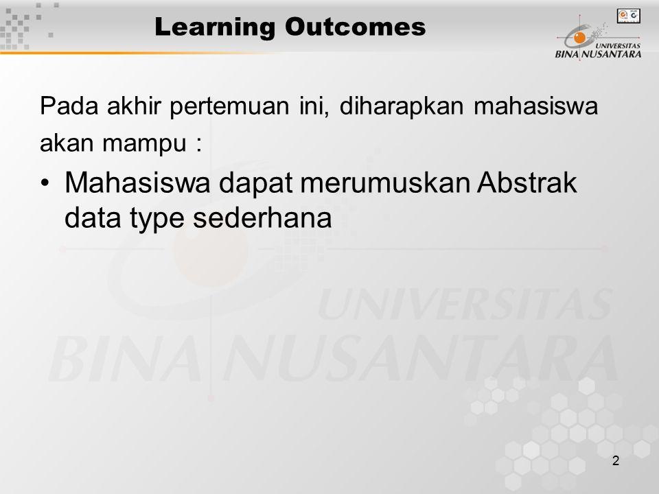 Mahasiswa dapat merumuskan Abstrak data type sederhana