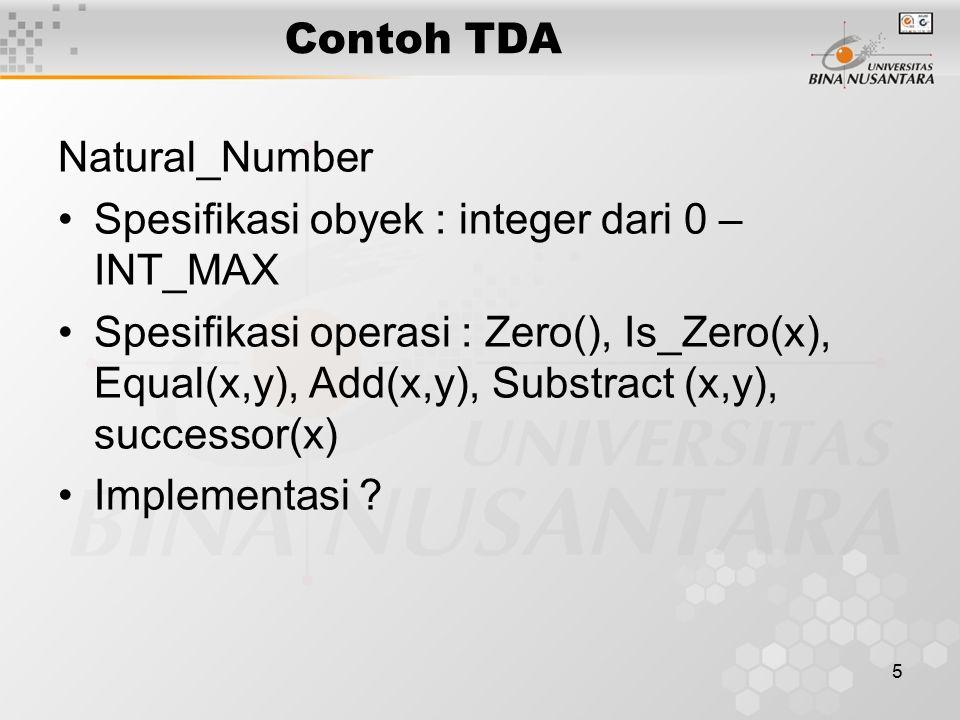 Contoh TDA Natural_Number. Spesifikasi obyek : integer dari 0 – INT_MAX.