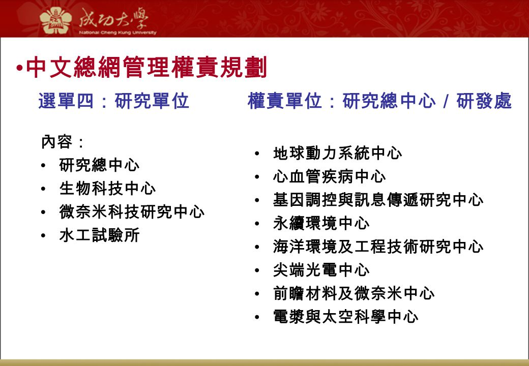中文總網管理權責規劃 選單四:研究單位 權責單位:研究總中心/研發處 內容: 研究總中心 生物科技中心 微奈米科技研究中心 水工試驗所