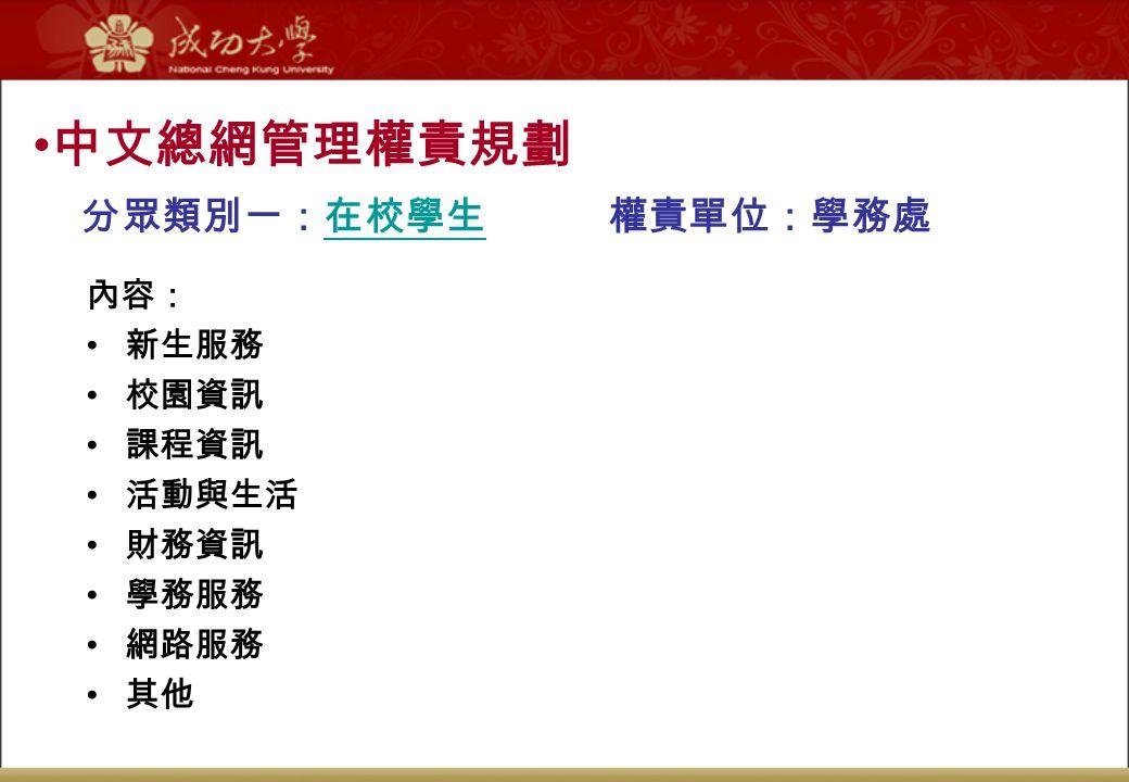 中文總網管理權責規劃 分眾類別一:在校學生 權責單位:學務處 內容: 新生服務 校園資訊 課程資訊 活動與生活 財務資訊 學務服務 網路服務