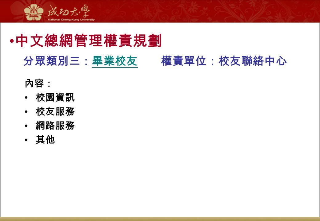 中文總網管理權責規劃 分眾類別三:畢業校友 權責單位:校友聯絡中心 內容: 校園資訊 校友服務 網路服務 其他