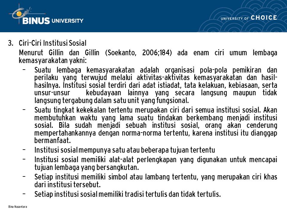 Ciri-Ciri Institusi Sosial