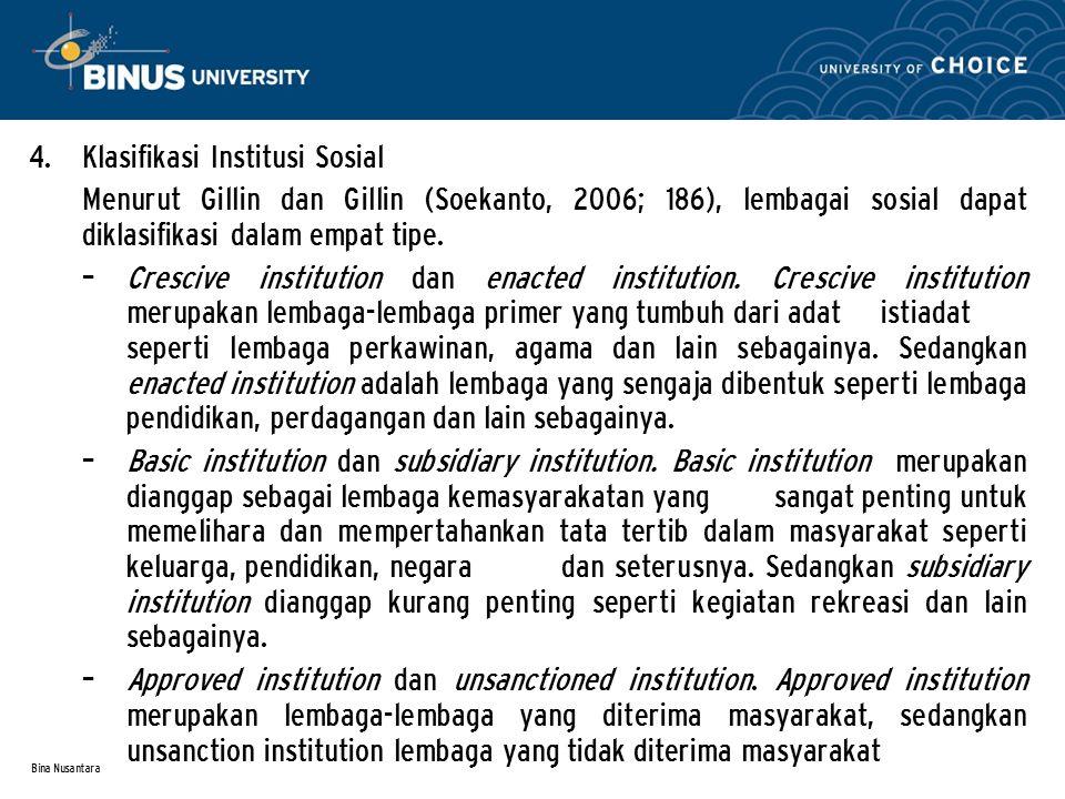 Klasifikasi Institusi Sosial