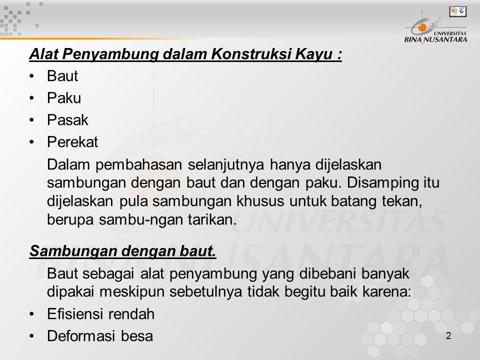 Alat Penyambung dalam Konstruksi Kayu :