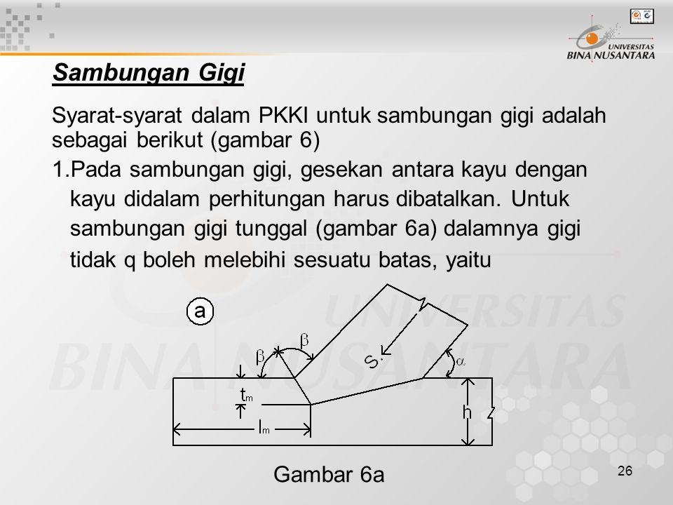 Sambungan Gigi Syarat-syarat dalam PKKI untuk sambungan gigi adalah sebagai berikut (gambar 6) Pada sambungan gigi, gesekan antara kayu dengan.