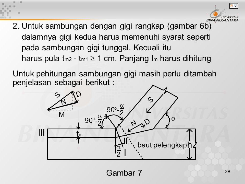 III t II h I 2. Untuk sambungan dengan gigi rangkap (gambar 6b)