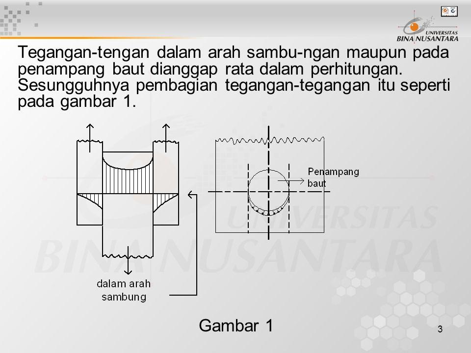 Tegangan-tengan dalam arah sambu-ngan maupun pada penampang baut dianggap rata dalam perhitungan. Sesungguhnya pembagian tegangan-tegangan itu seperti pada gambar 1.